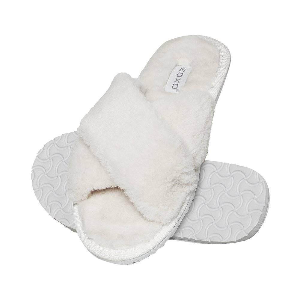 de style élégant élégant et gracieux officiel SOXO Pantoufles femme fourrure blanche, Femmes \ Chaussons ...